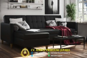Sofa L Minimalis Kayu Jati